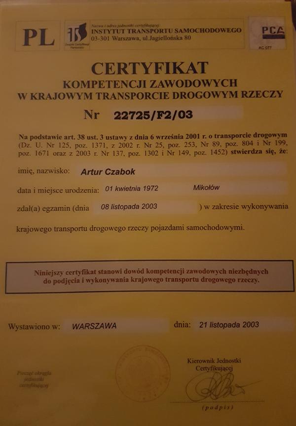 koparka katowice certyfikat 3
